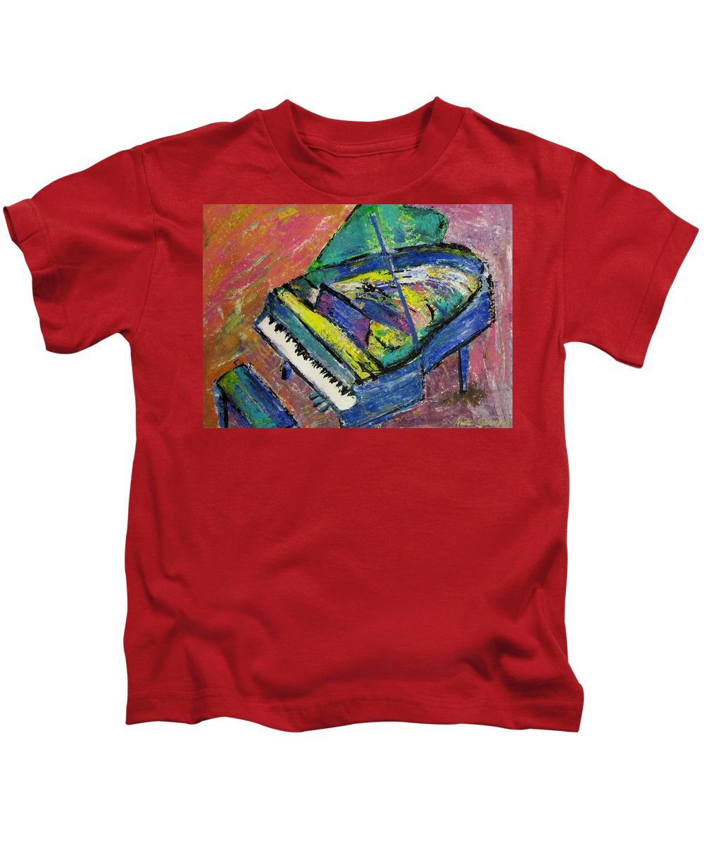 Piano Kids T-Shirt featuring the painting Piano Blue by Anita Burgermeister