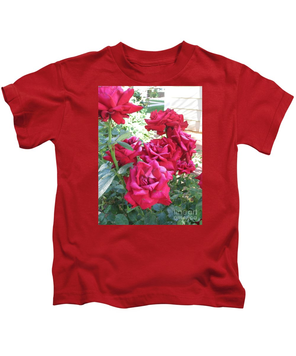 Photography Kids T-Shirt featuring the photograph Pink Roses by Chrisann Ellis