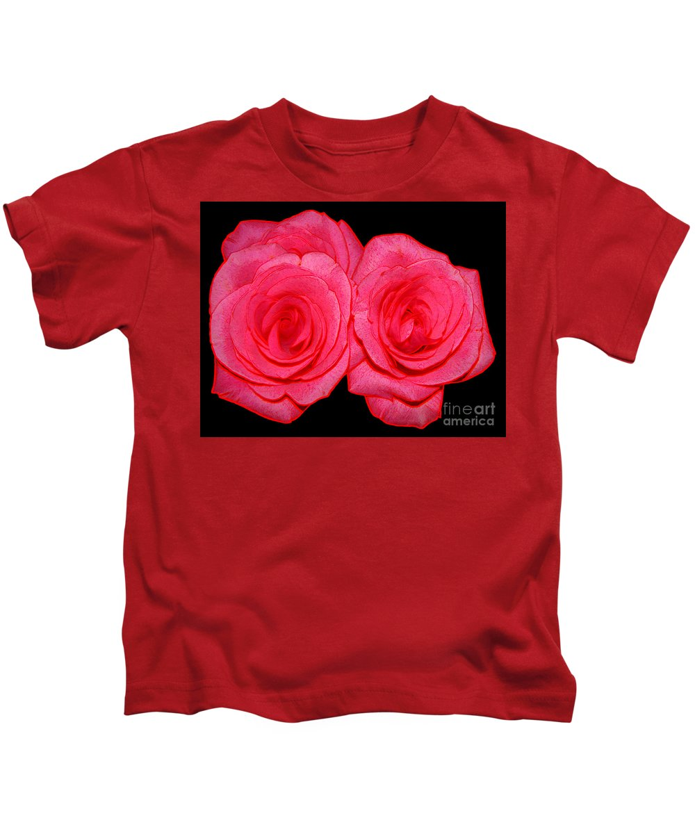 Roses Kids T-Shirt featuring the photograph Pink Roses With Colored Edges Effects by Rose Santuci-Sofranko