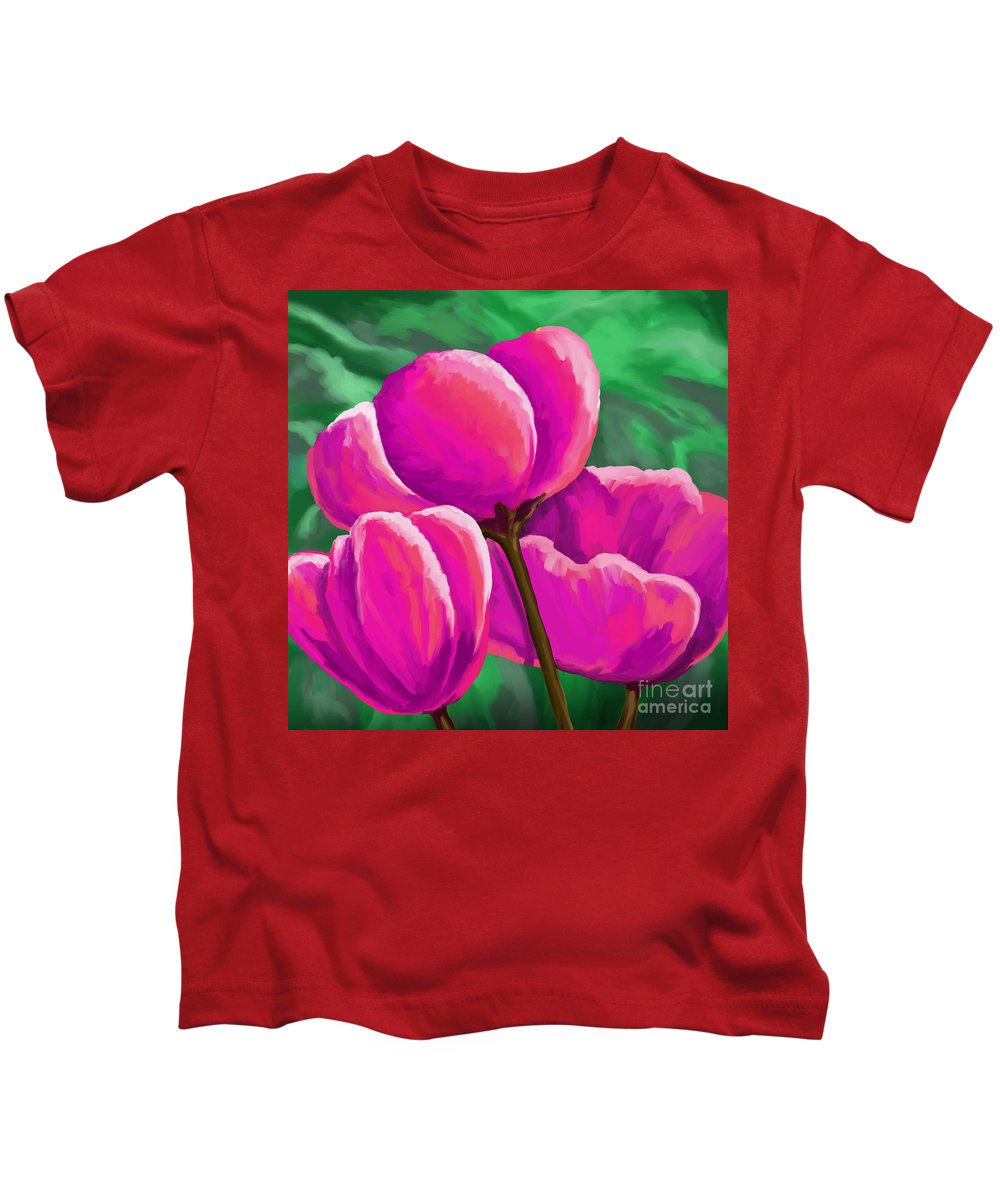 Contemporary Art Kids T-Shirt featuring the painting Pink Tulips On Green by Tim Gilliland
