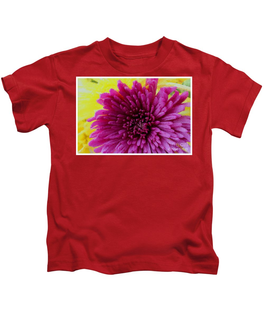Polka Dot Purple Mum Kids T-Shirt featuring the photograph Polka Dot Purple Mum by Barbara Griffin