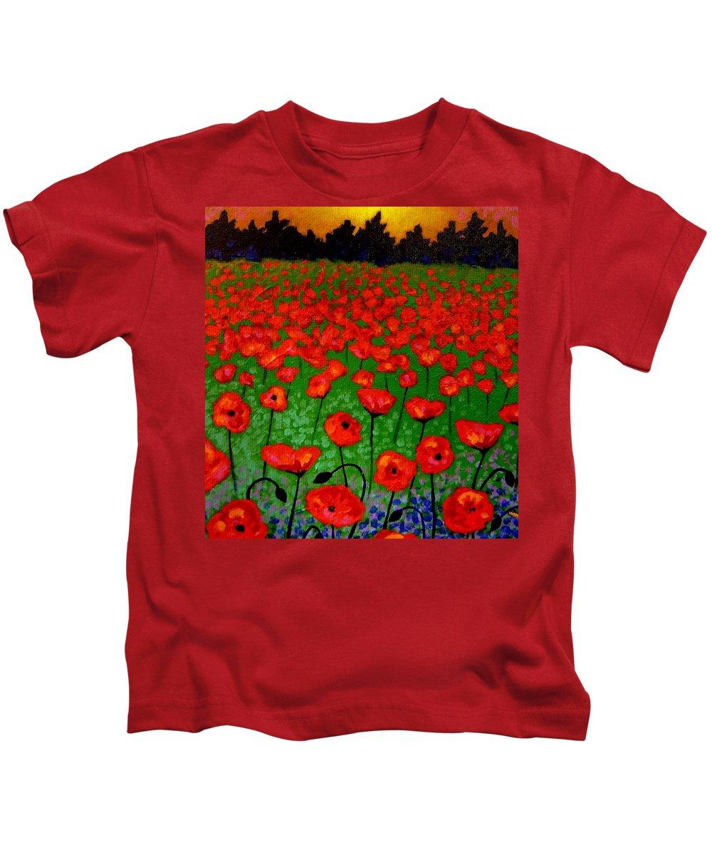 Poppy Kids T-Shirt featuring the painting Poppy Carpet by John Nolan