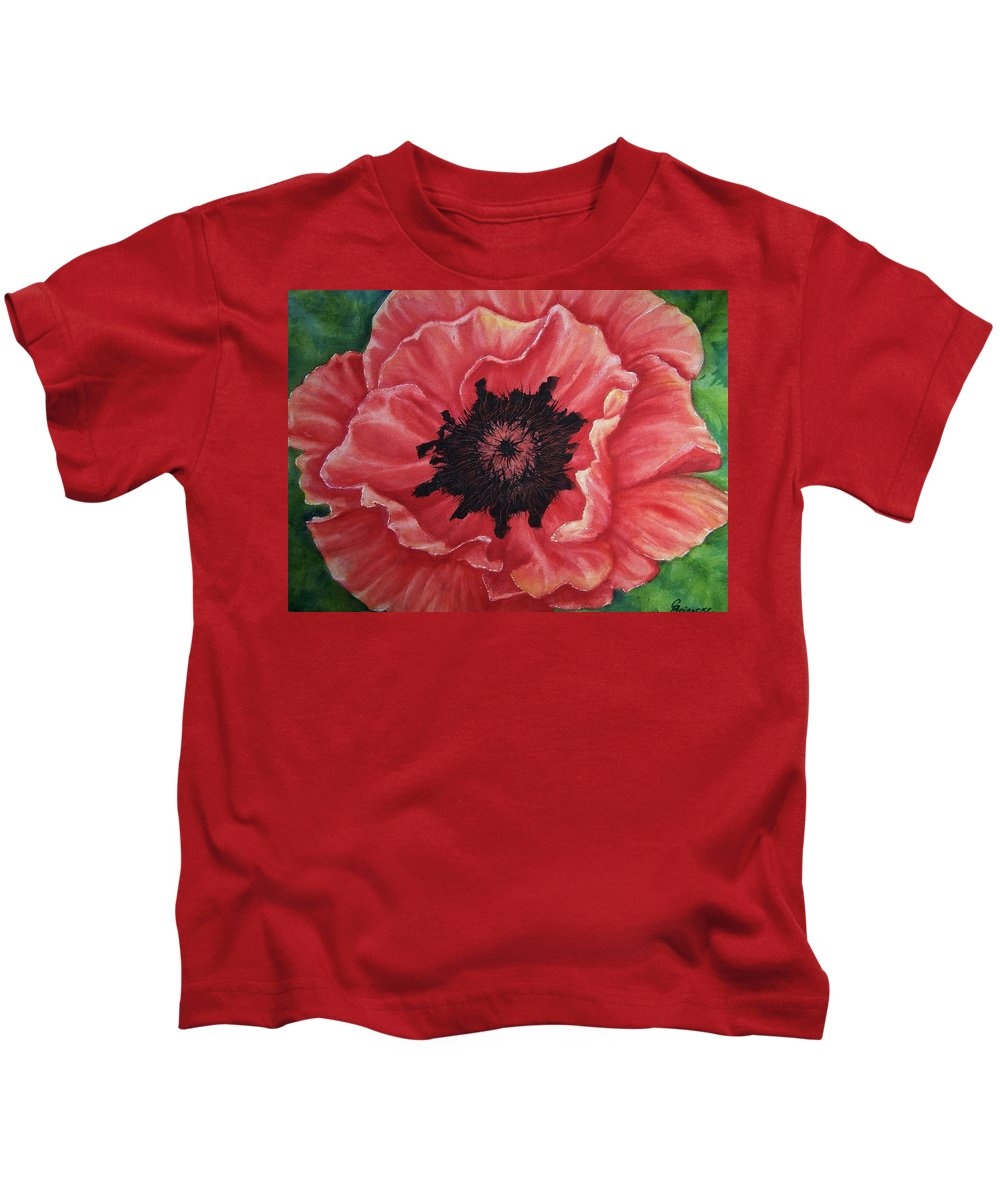 Poppy Kids T-Shirt featuring the painting Poppy by Conni Reinecke