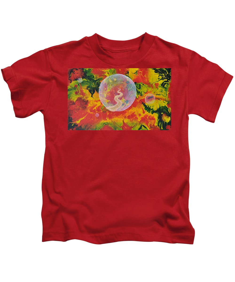 Abstract Kids T-Shirt featuring the painting Portals And Dimensions by Georgeta Blanaru