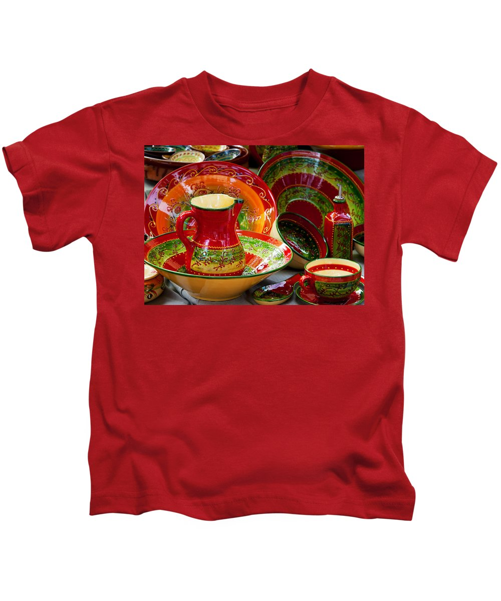Photography Kids T-Shirt featuring the photograph Pottery For Sale At A Market Stall by Panoramic Images