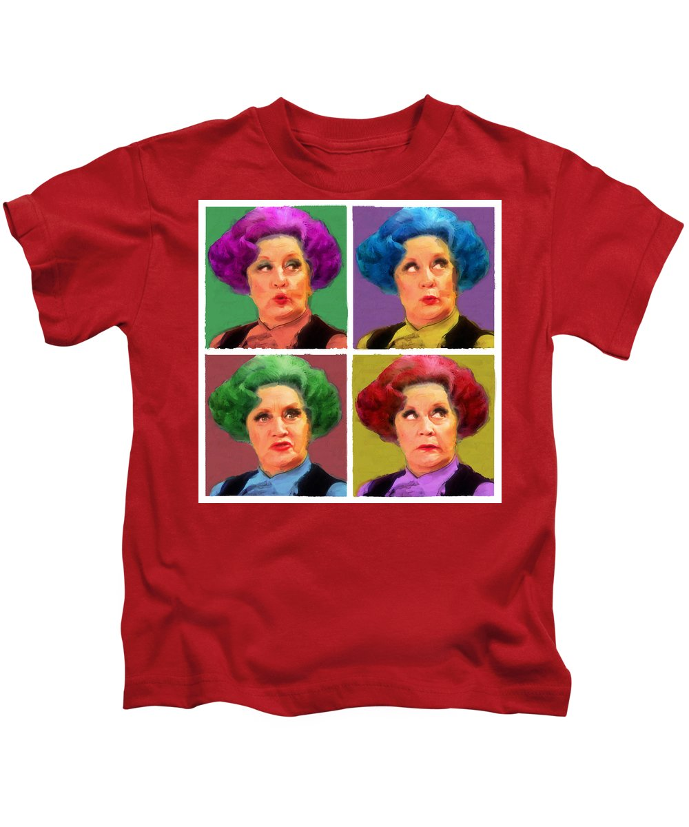 Celebrities Kids T-Shirt featuring the mixed media Pussy Galore by Big Fat Arts
