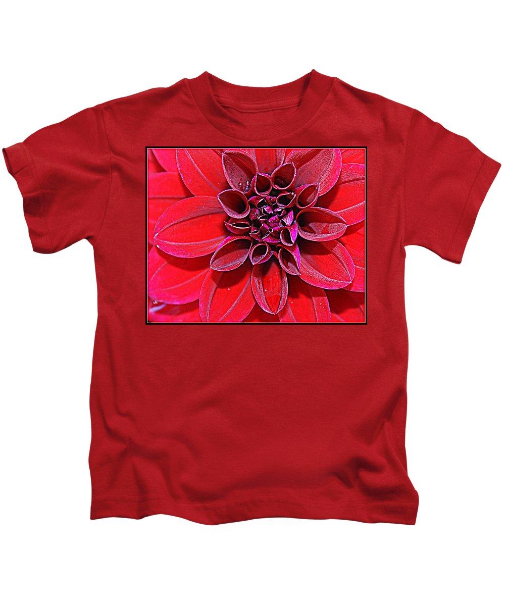 Dahlia Kids T-Shirt featuring the photograph Radiant In Red - Dahlia by Dora Sofia Caputo Photographic Design and Fine Art