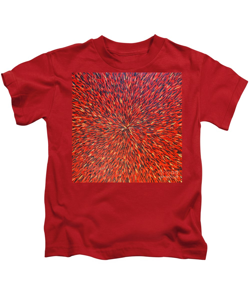 Abstract Kids T-Shirt featuring the painting Radiation Red by Dean Triolo