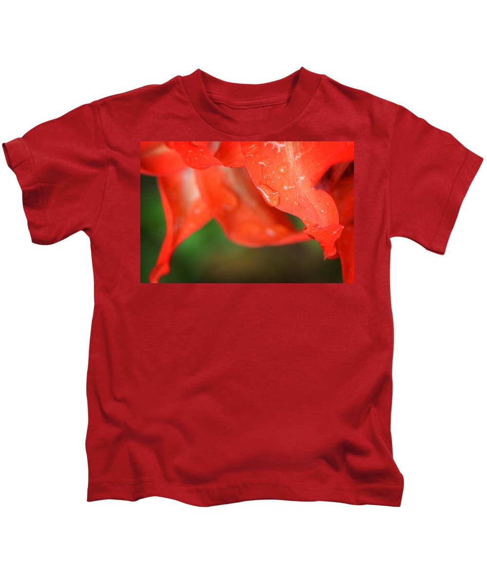 Rain Kids T-Shirt featuring the photograph Rain Dance - Red Flower Photography By Sharon Cummings by Sharon Cummings