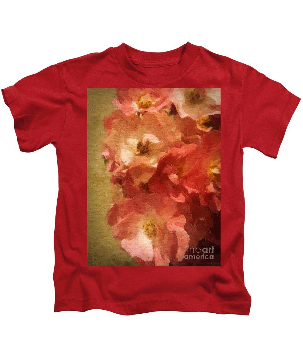 Rose Kids T-Shirt featuring the digital art Ramblin Rose Memories by Lianne Schneider