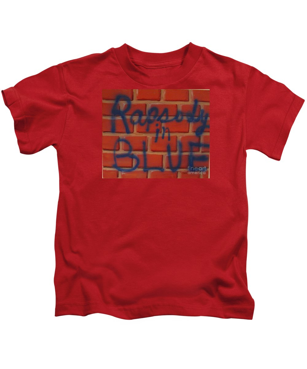 Abstract Kids T-Shirt featuring the painting Rapsody In Blue by Laurie Morgan