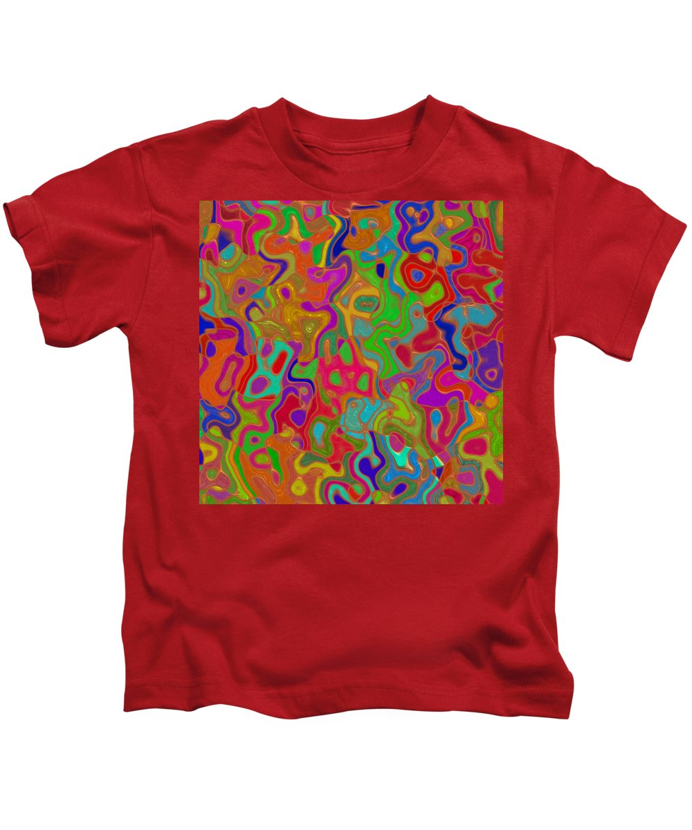 Romanovna Graphic Design Kids T-Shirt featuring the digital art Red And Gold Abstract by Georgiana Romanovna