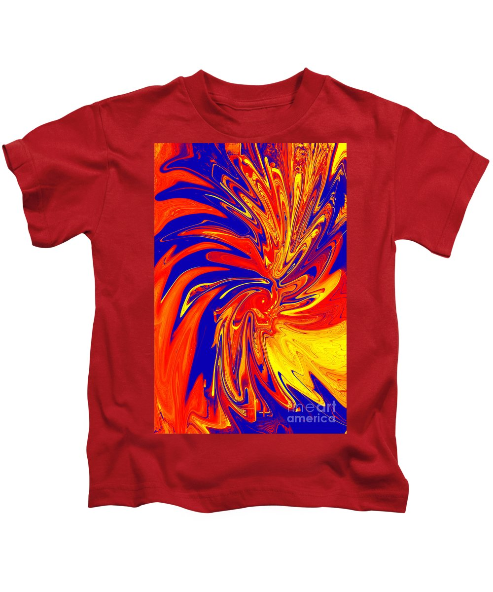 Red Kids T-Shirt featuring the digital art Red Blue Orange Red Yellow Swirl by Christopher Shellhammer