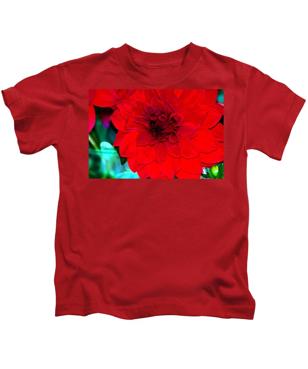 Flower Kids T-Shirt featuring the photograph Red Dahlia by Lehua Pekelo-Stearns