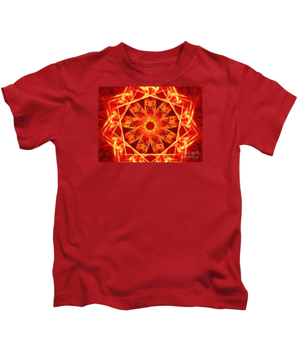 Apophysis Kids T-Shirt featuring the digital art Red Dynasty by Kim Sy Ok