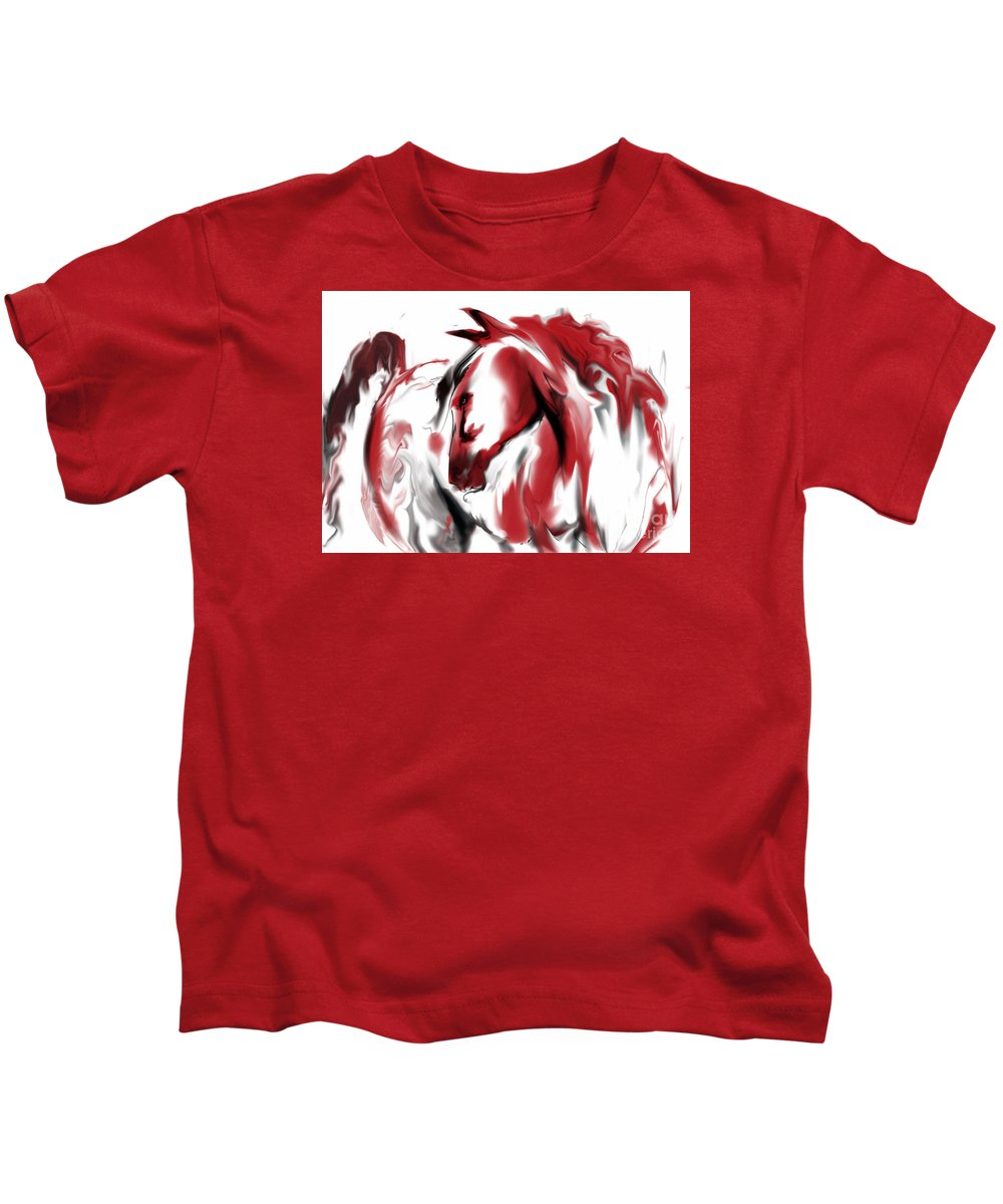 Horse Kids T-Shirt featuring the digital art Red Horse by Jim Fronapfel