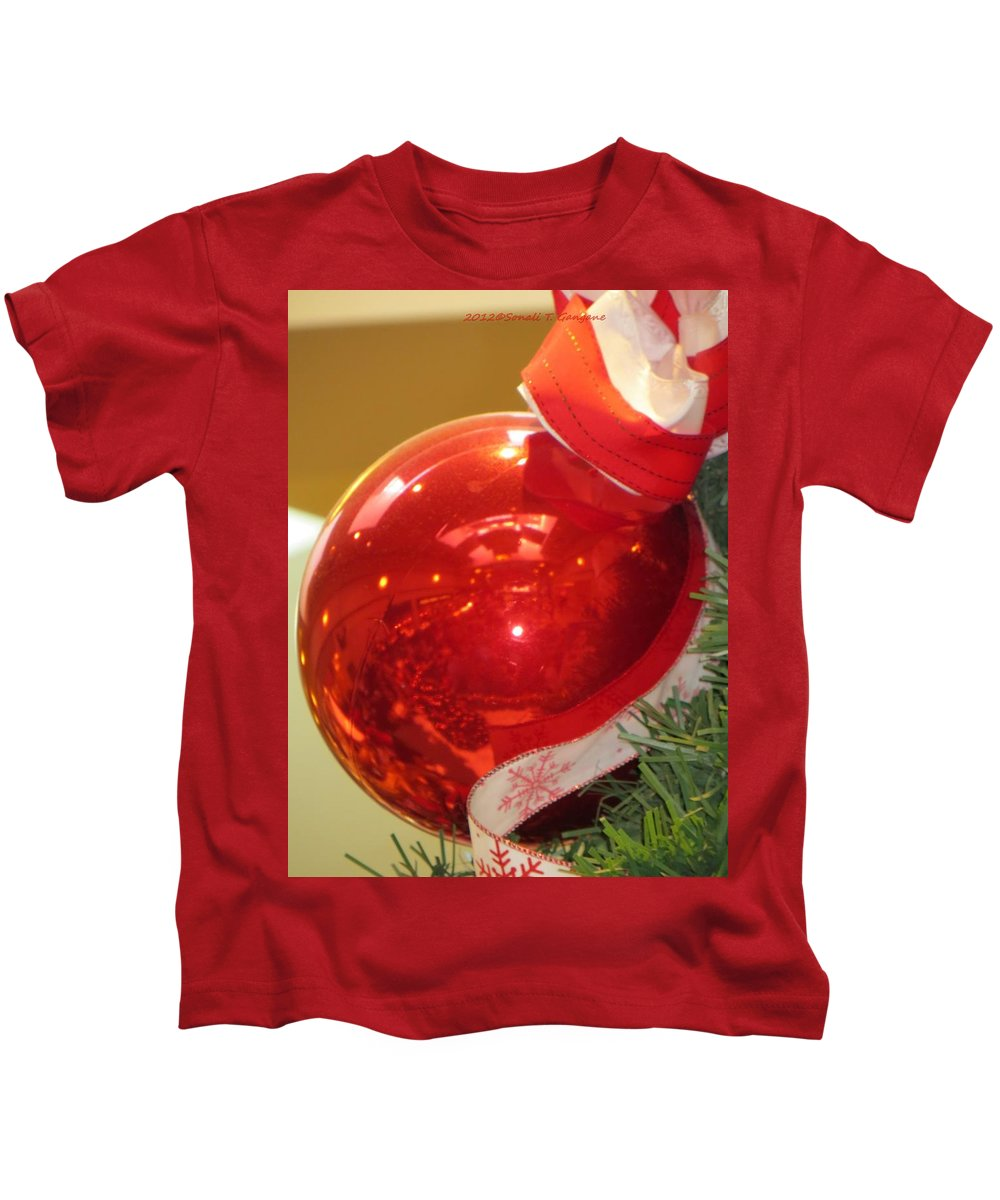 Red Ornaments Kids T-Shirt featuring the photograph Red Reflections by Sonali Gangane