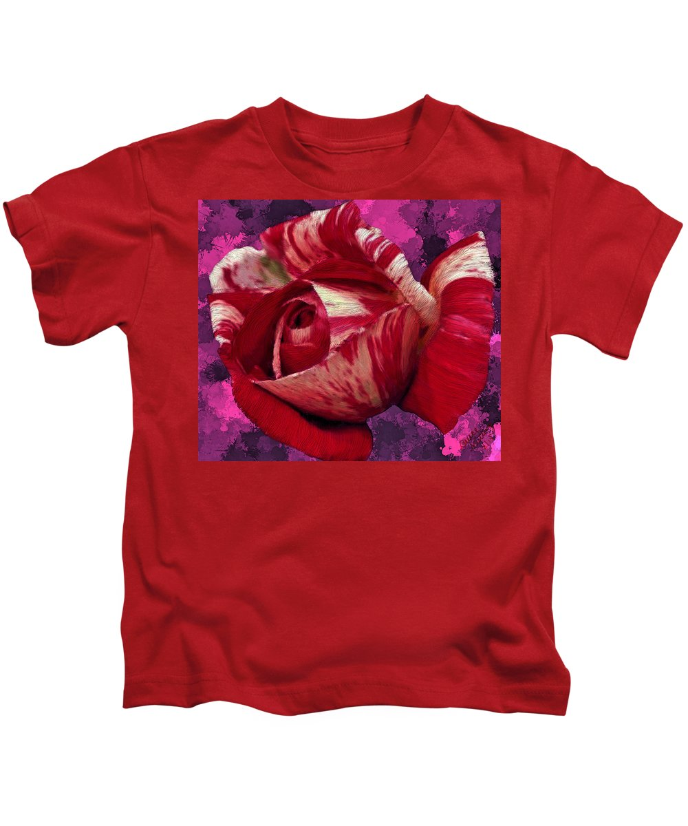 Red Kids T-Shirt featuring the painting Red Rose by Bruce Nutting