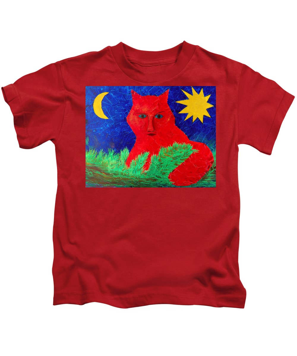 Fantasy Kids T-Shirt featuring the painting Red by Sergey Bezhinets