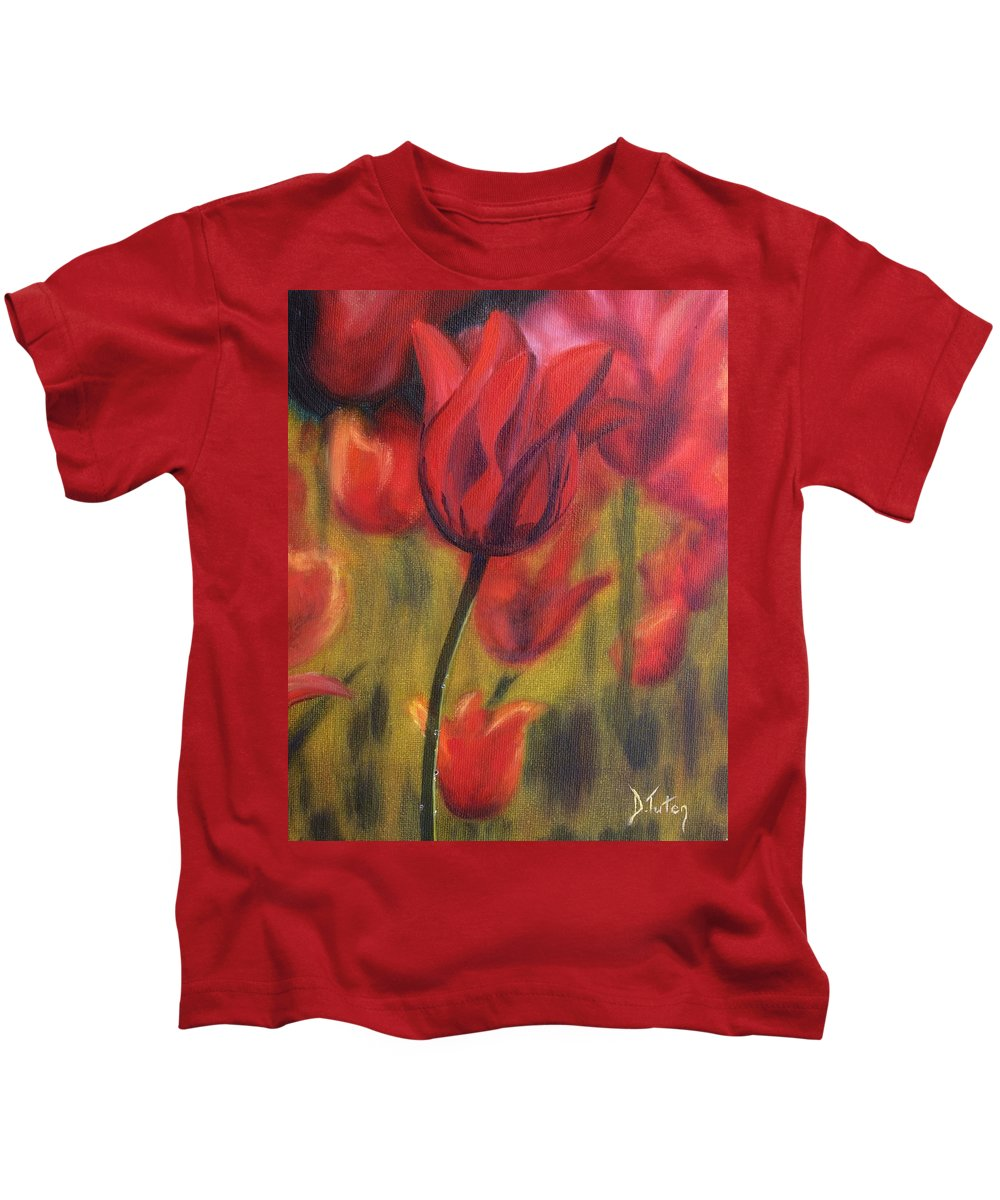 Tulip Kids T-Shirt featuring the painting Red Tulips by Donna Tuten