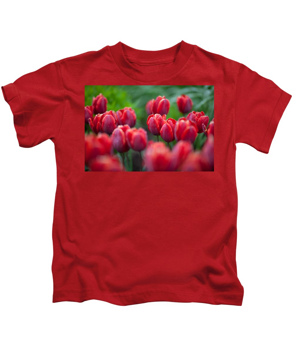 Red Kids T-Shirt featuring the photograph red tulips II by Ralf Kaiser