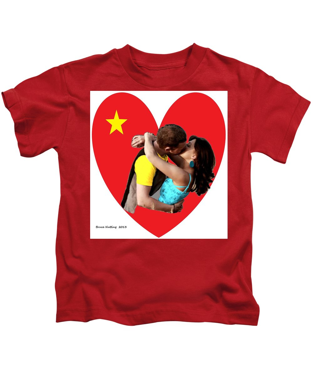 Kiss Kids T-Shirt featuring the painting Romantic Kiss by Bruce Nutting