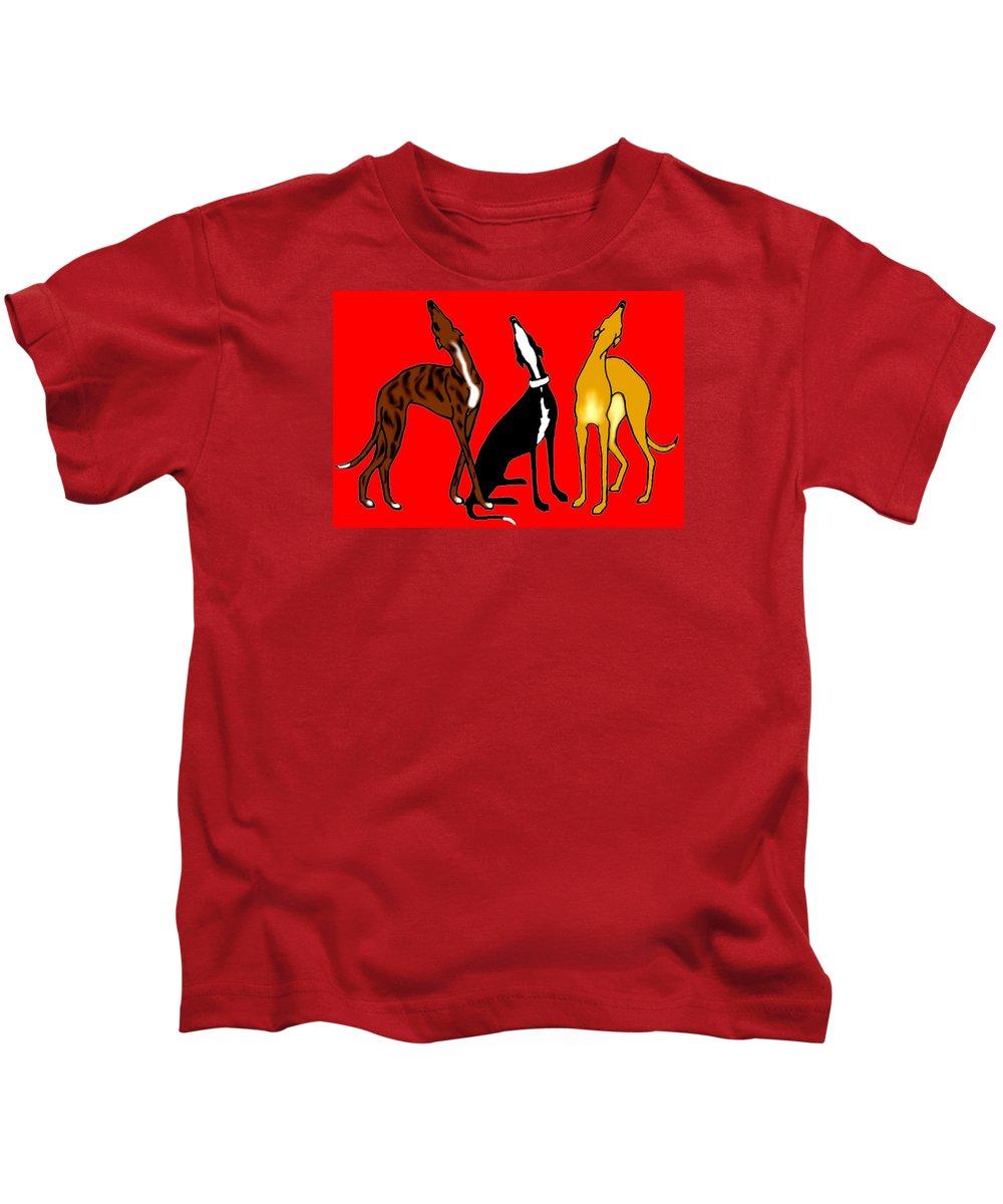 Greyhounds Kids T-Shirt featuring the digital art Roo Greyhounds by Jennifer Howard