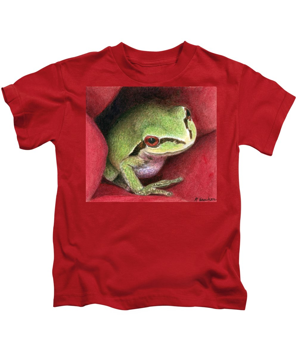 Frog Kids T-Shirt featuring the painting Rose Frog by Pat Erickson