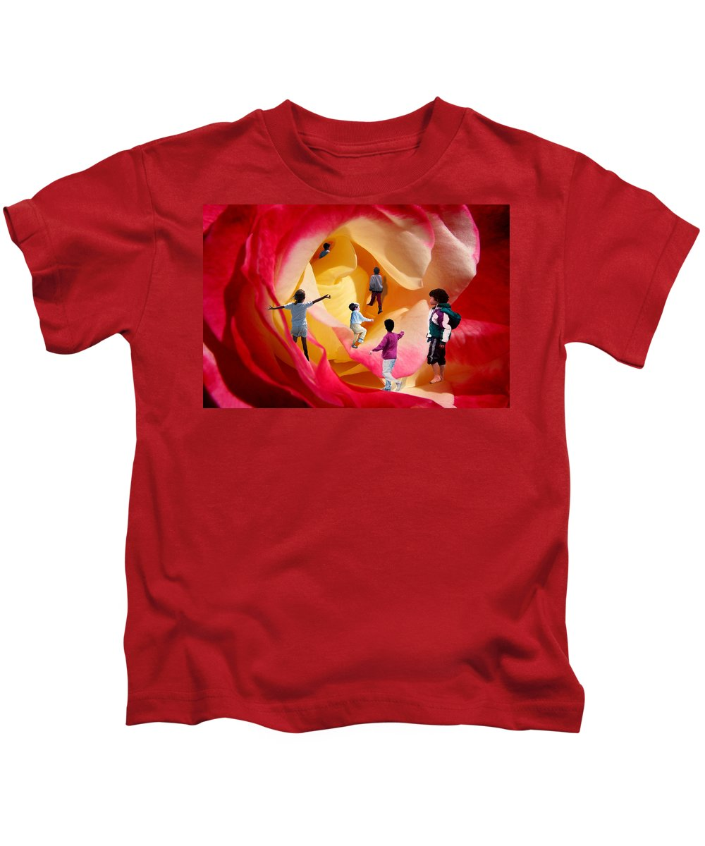 Rose Kids T-Shirt featuring the digital art Rose Labyrinth by Lisa Yount