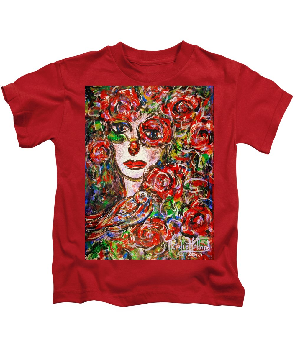 Expressionism Kids T-Shirt featuring the painting Rose by Natalie Holland