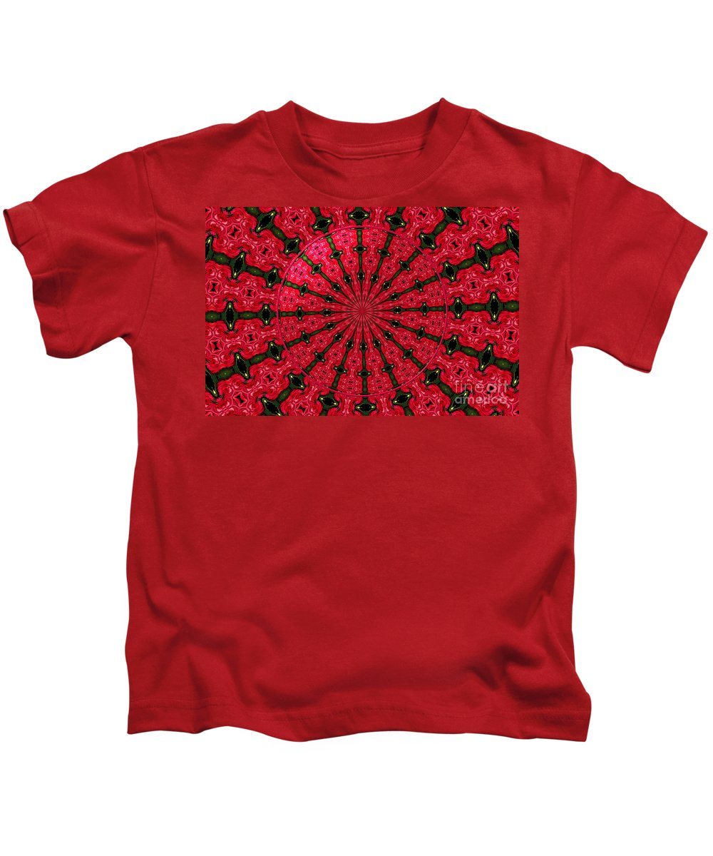Fuchsia Roses Kids T-Shirt featuring the photograph Roses Kaleidoscope Under Glass 24 by Rose Santuci-Sofranko