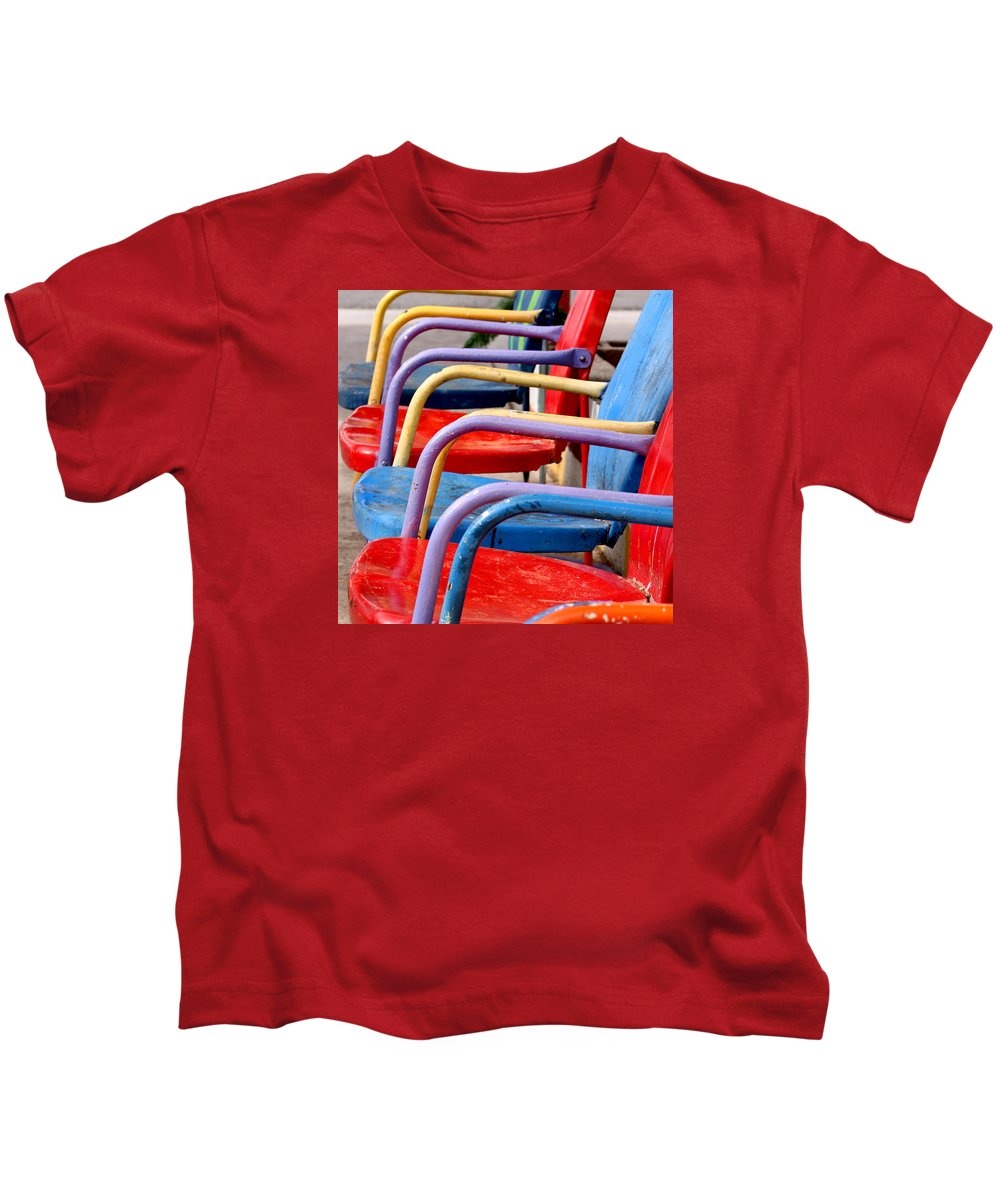 Route 66 Kids T-Shirt featuring the photograph Route 66 Chairs by Art Block Collections