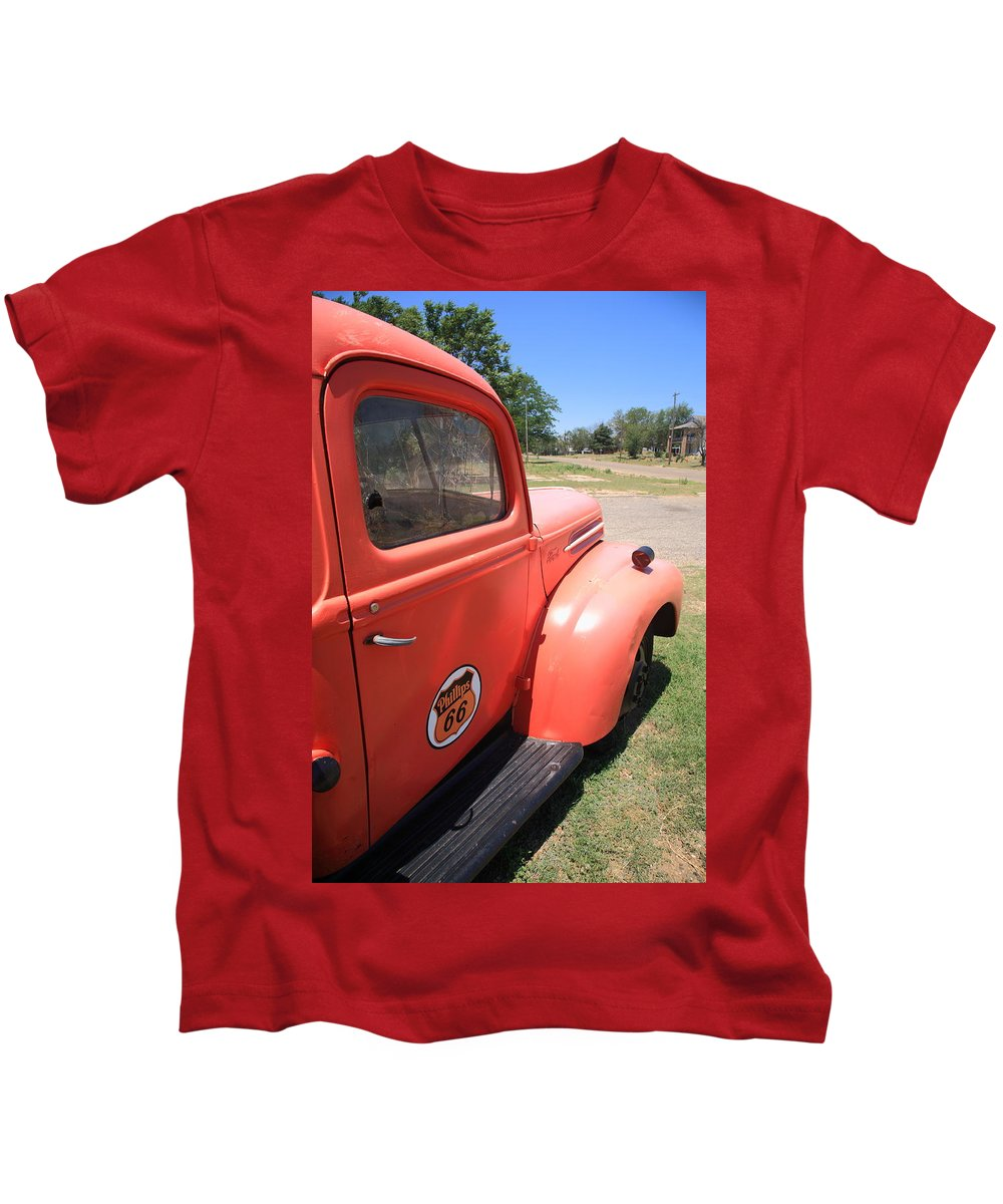 66 Kids T-Shirt featuring the photograph Route 66 Pickup Truck by Frank Romeo