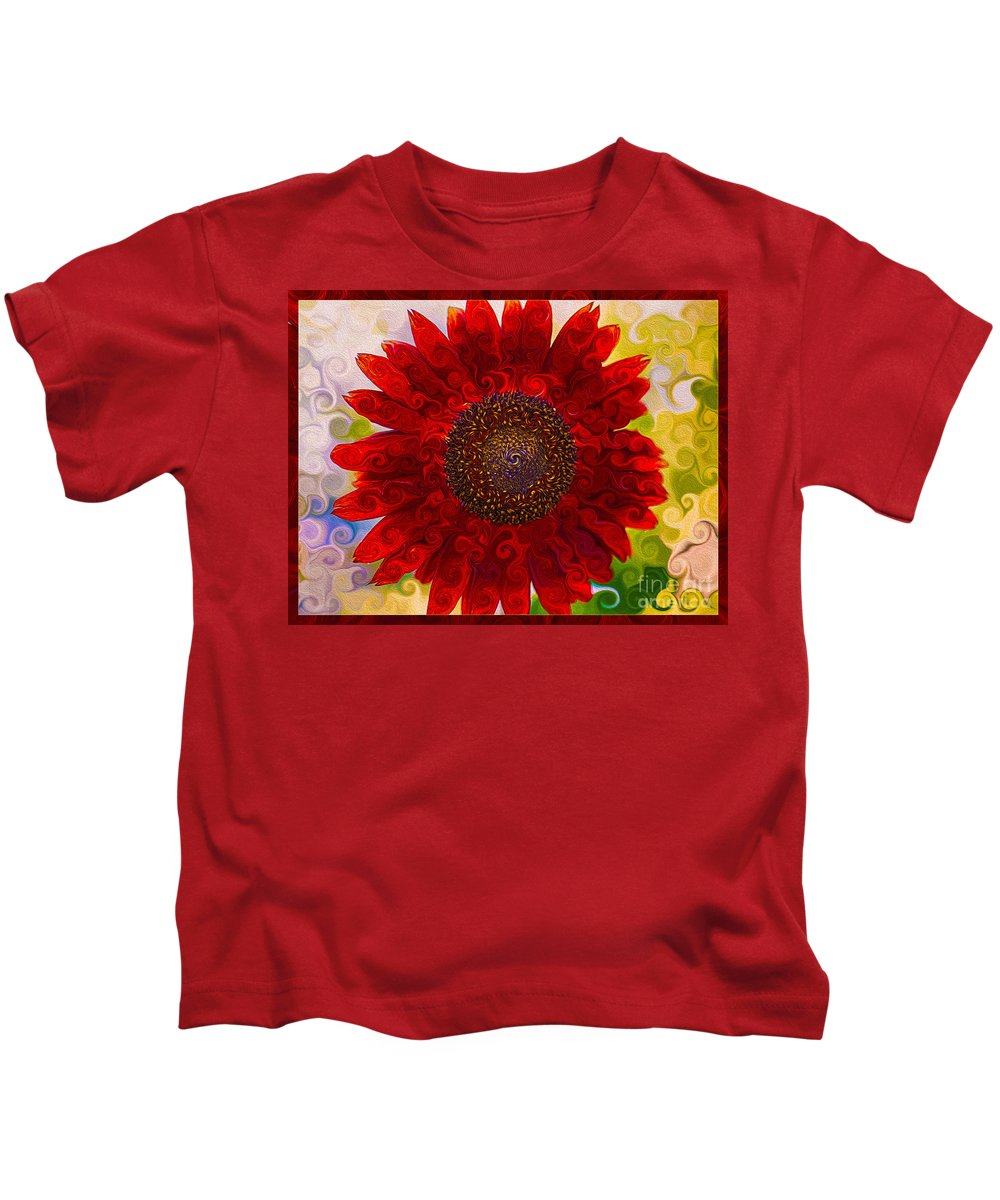 Abstract Kids T-Shirt featuring the painting Royal Red Sunflower by Omaste Witkowski