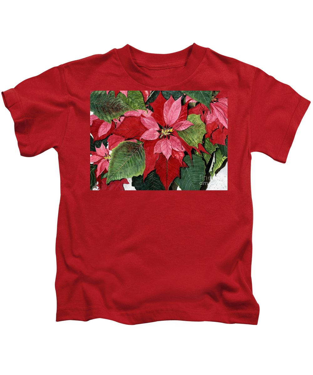 Flower Kids T-Shirt featuring the painting Seasonal Scarlet by Barbara Jewell