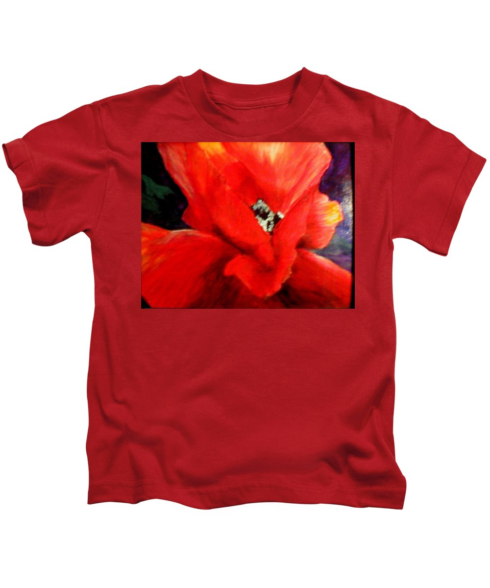 Floral Kids T-Shirt featuring the painting She Wore Red Ruffles by Gail Kirtz