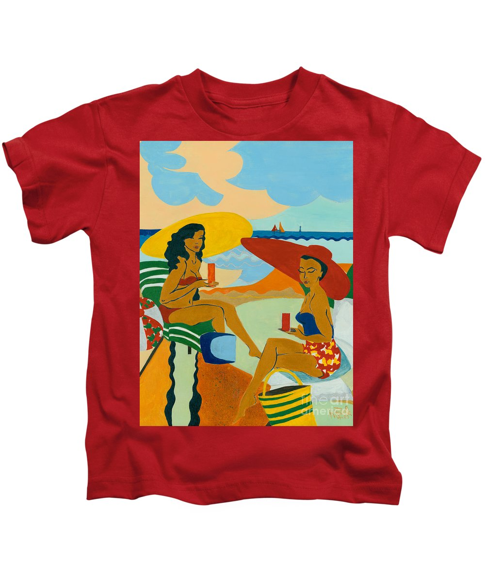 Summer Kids T-Shirt featuring the painting Sizzling Summer by Elisabeta Hermann