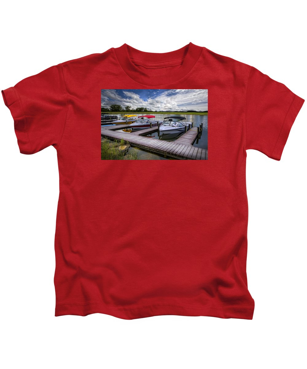 Boats Kids T-Shirt featuring the photograph Ski Nautique by Debra and Dave Vanderlaan
