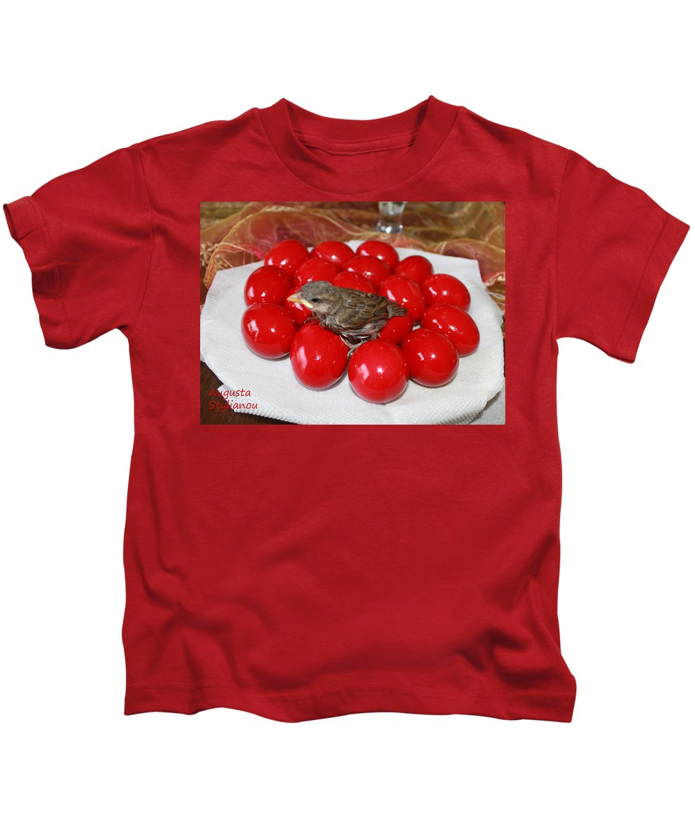 Augusta Stylianou Kids T-Shirt featuring the photograph Sparrow On Red Eggs by Augusta Stylianou