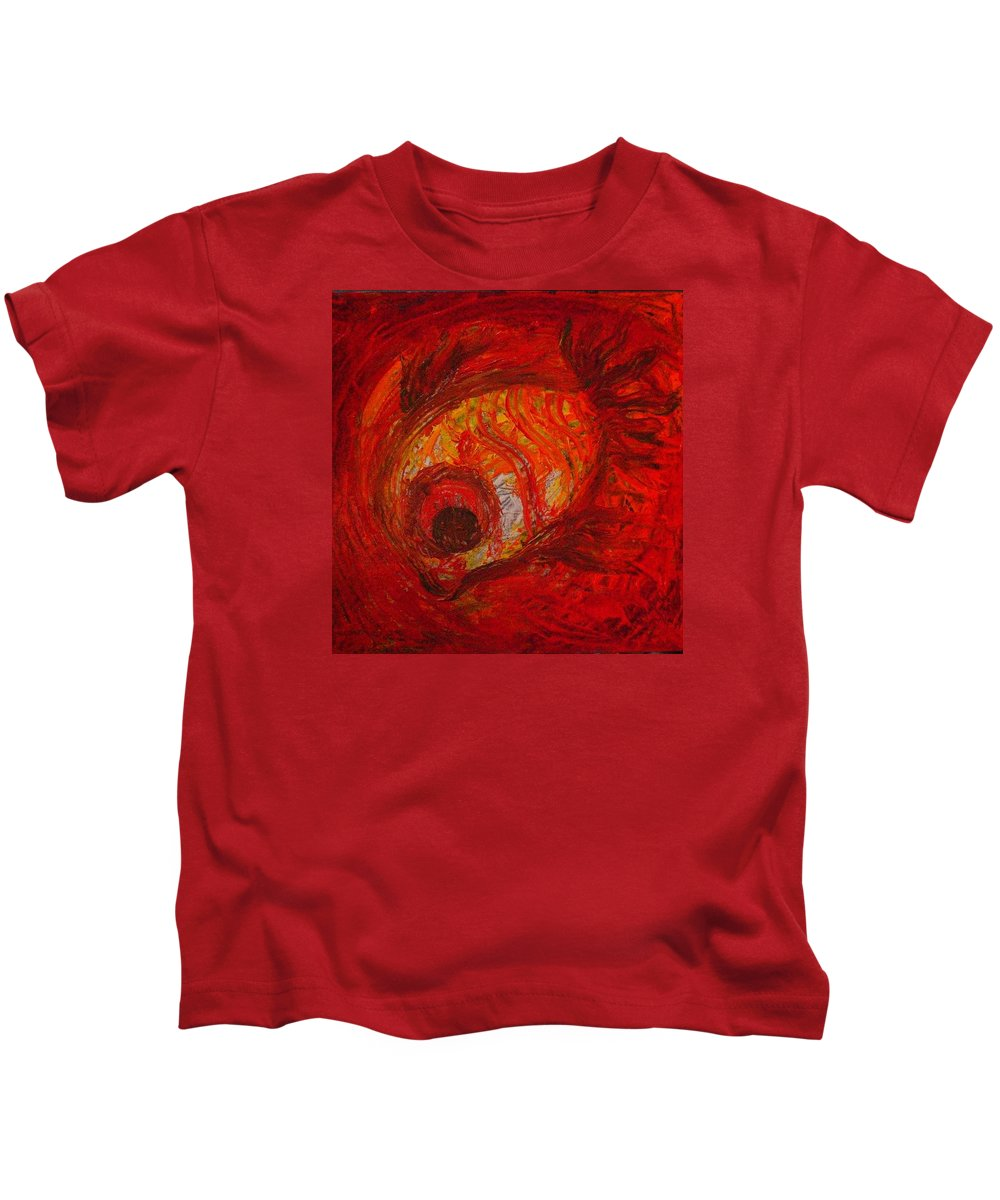 Fish Kids T-Shirt featuring the painting Spiced Fish by Vineeth Menon