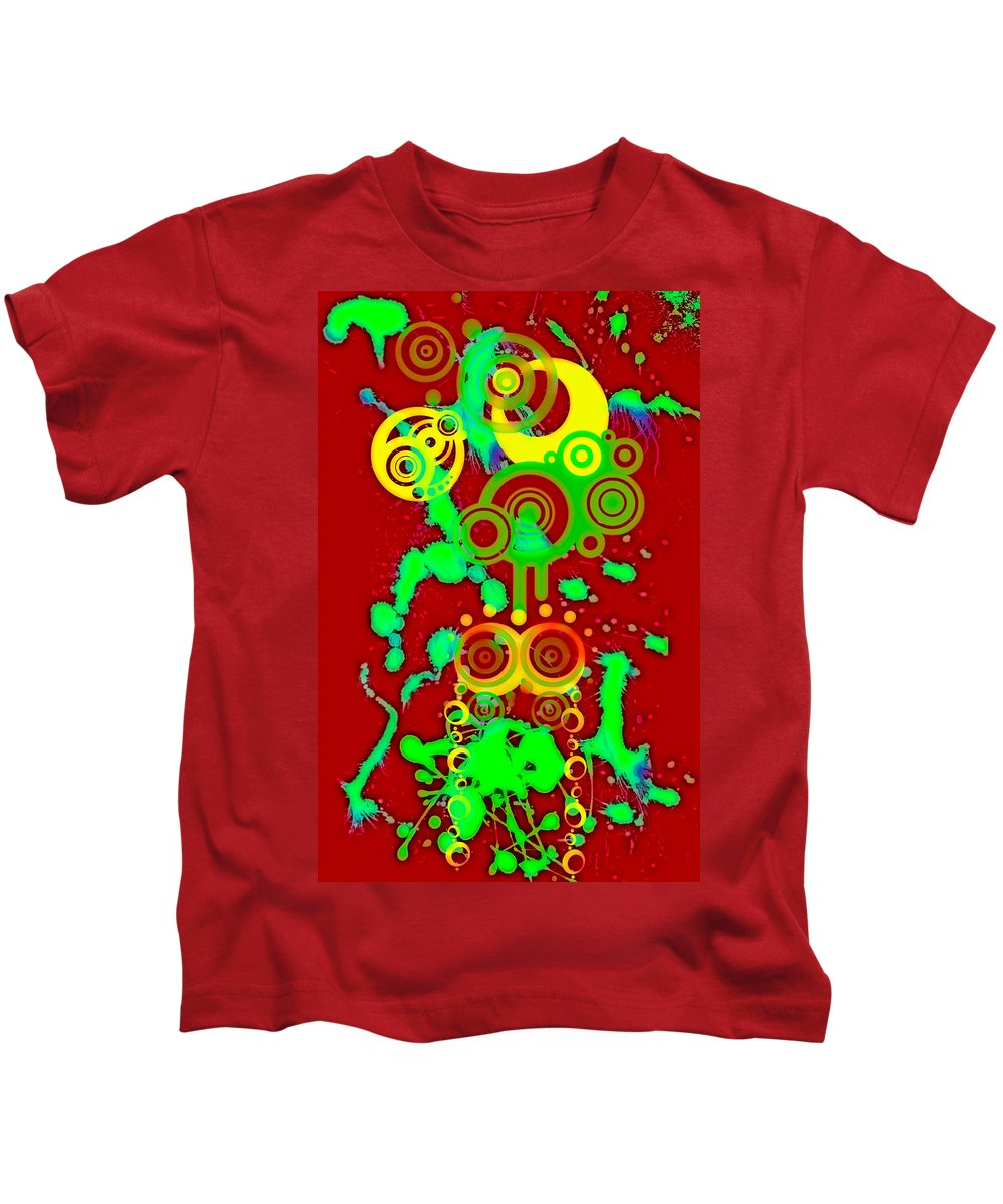 Red Kids T-Shirt featuring the digital art Splattered Series 10 by Teri Schuster