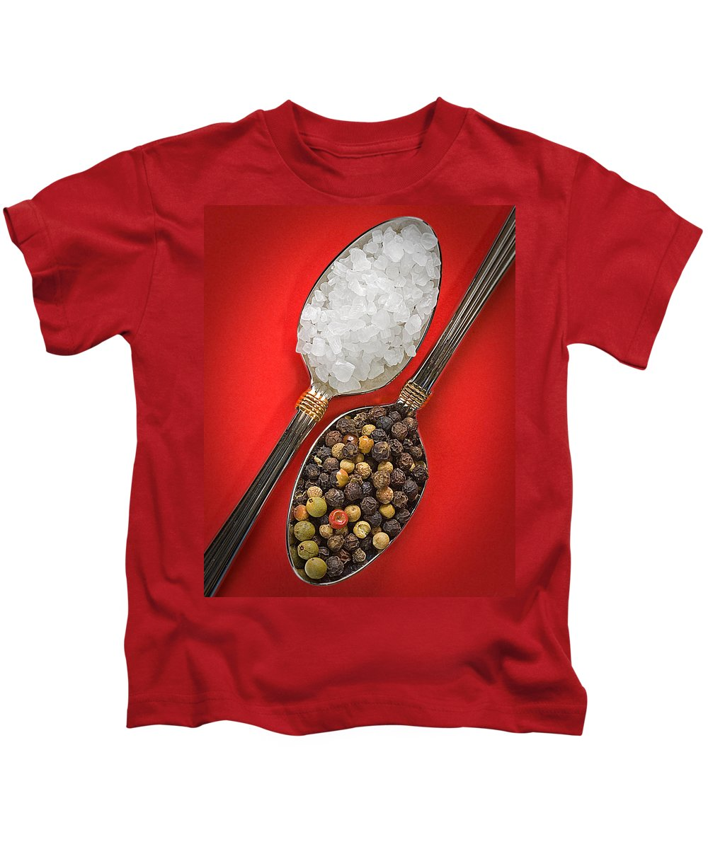 Spoons Kids T-Shirt featuring the photograph Spoonfuls Of Salt And Pepper by Susan Candelario