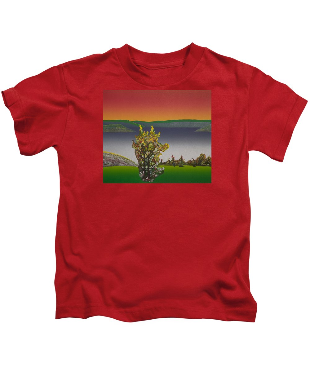 Landscape Kids T-Shirt featuring the drawing Static View. by Jarle Rosseland
