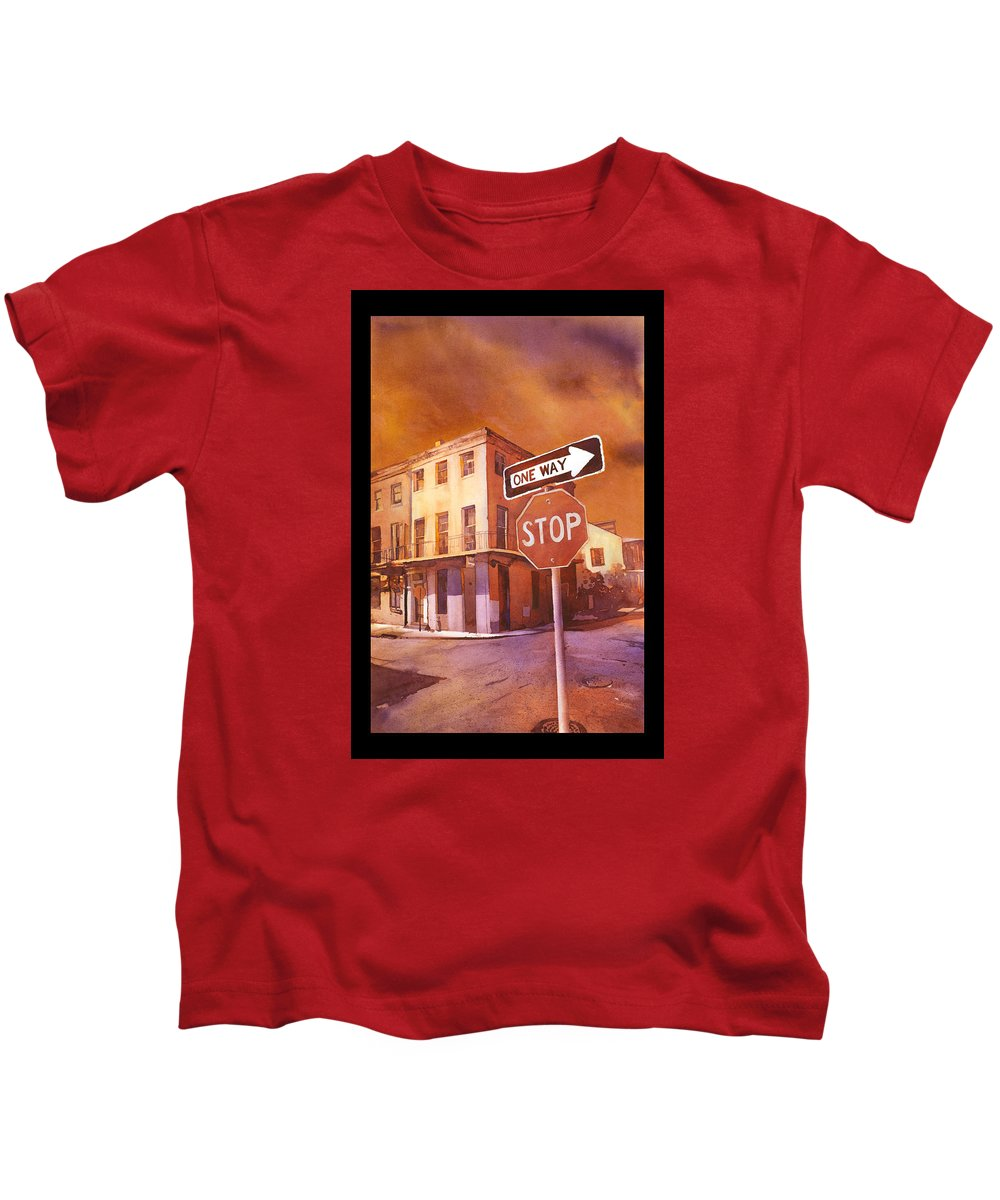 Watercolor Kids T-Shirt featuring the painting Stop- French Quarter Ahead by Ryan Fox