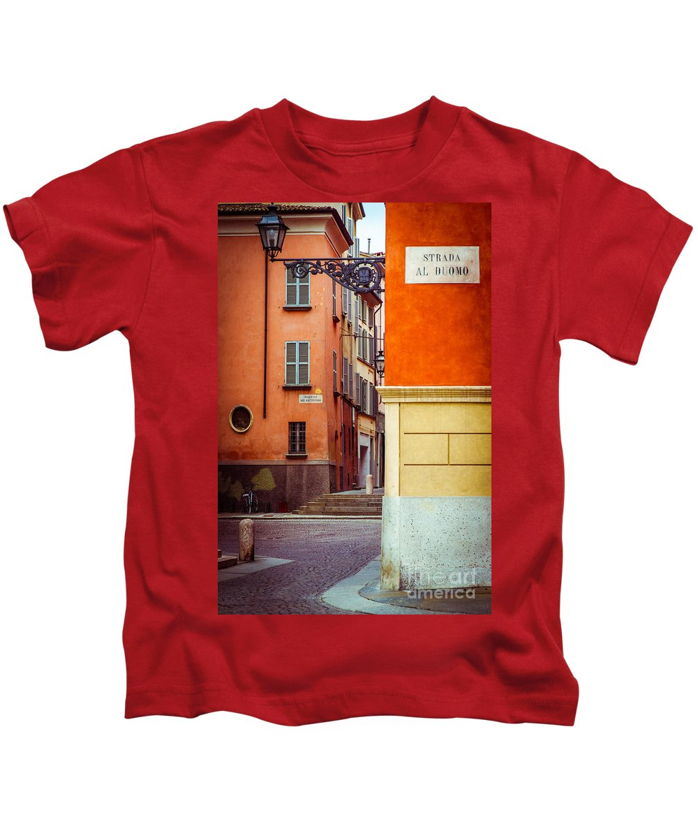 Italian Kids T-Shirt featuring the photograph Strada Al Duomo Duomo Street by Silvia Ganora