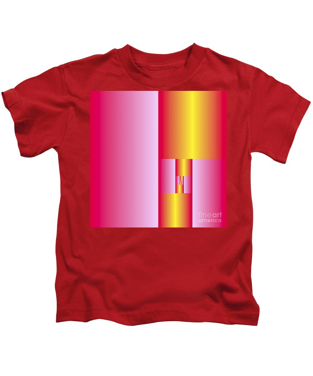 Plane Kids T-Shirt featuring the digital art Subdivisions 2 In Gold And Cerise by Marcus West
