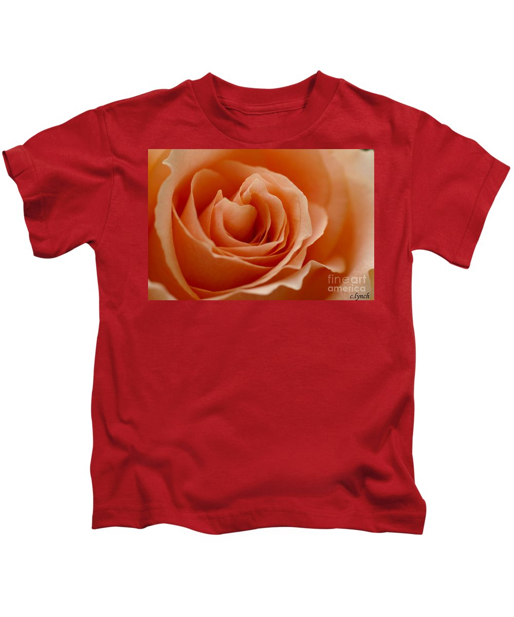 Peach Kids T-Shirt featuring the photograph Summer Peach by Carol Lynch