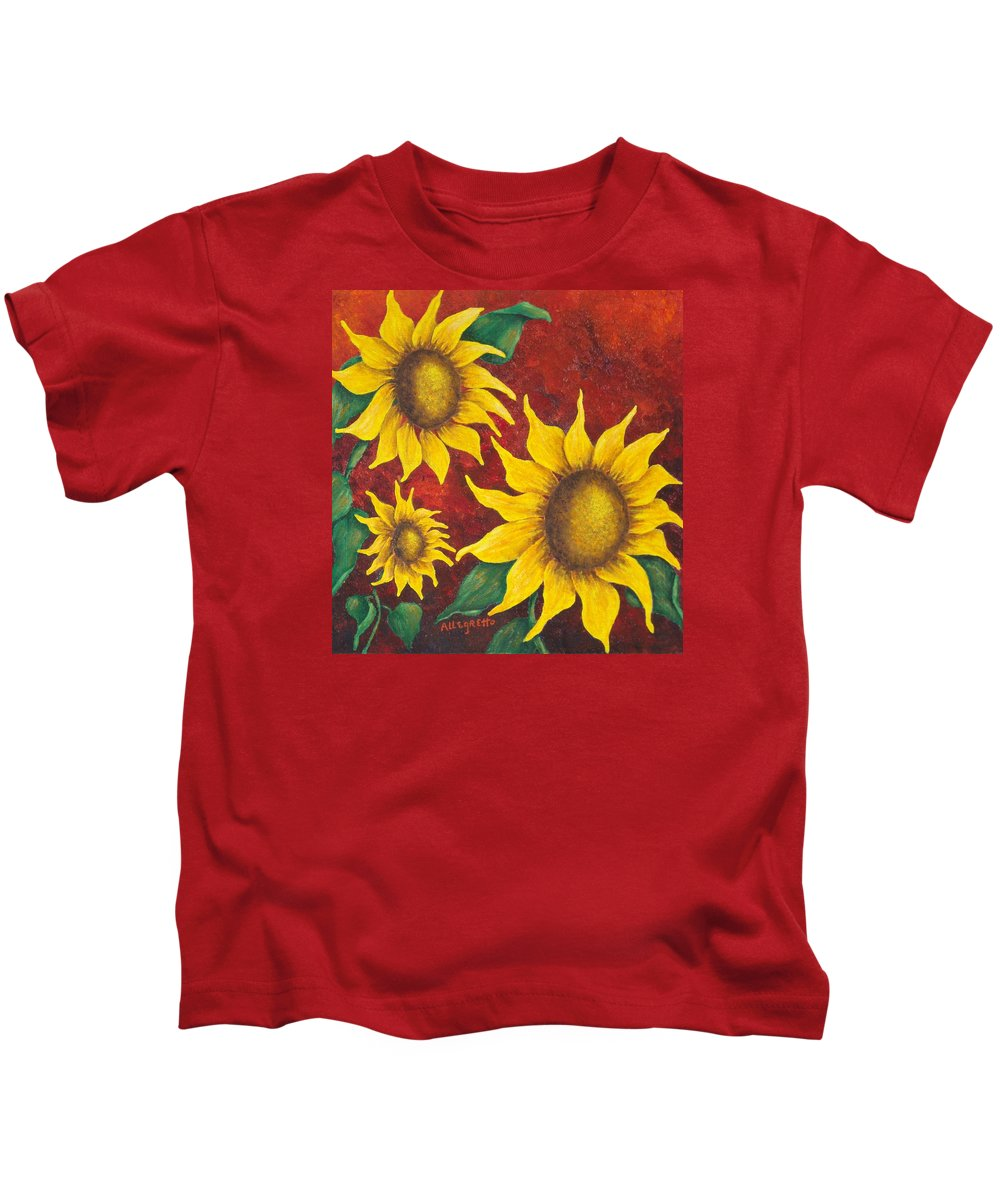 Pamela Allegretto Franz Kids T-Shirt featuring the painting Sunflowers At Sunset by Pamela Allegretto