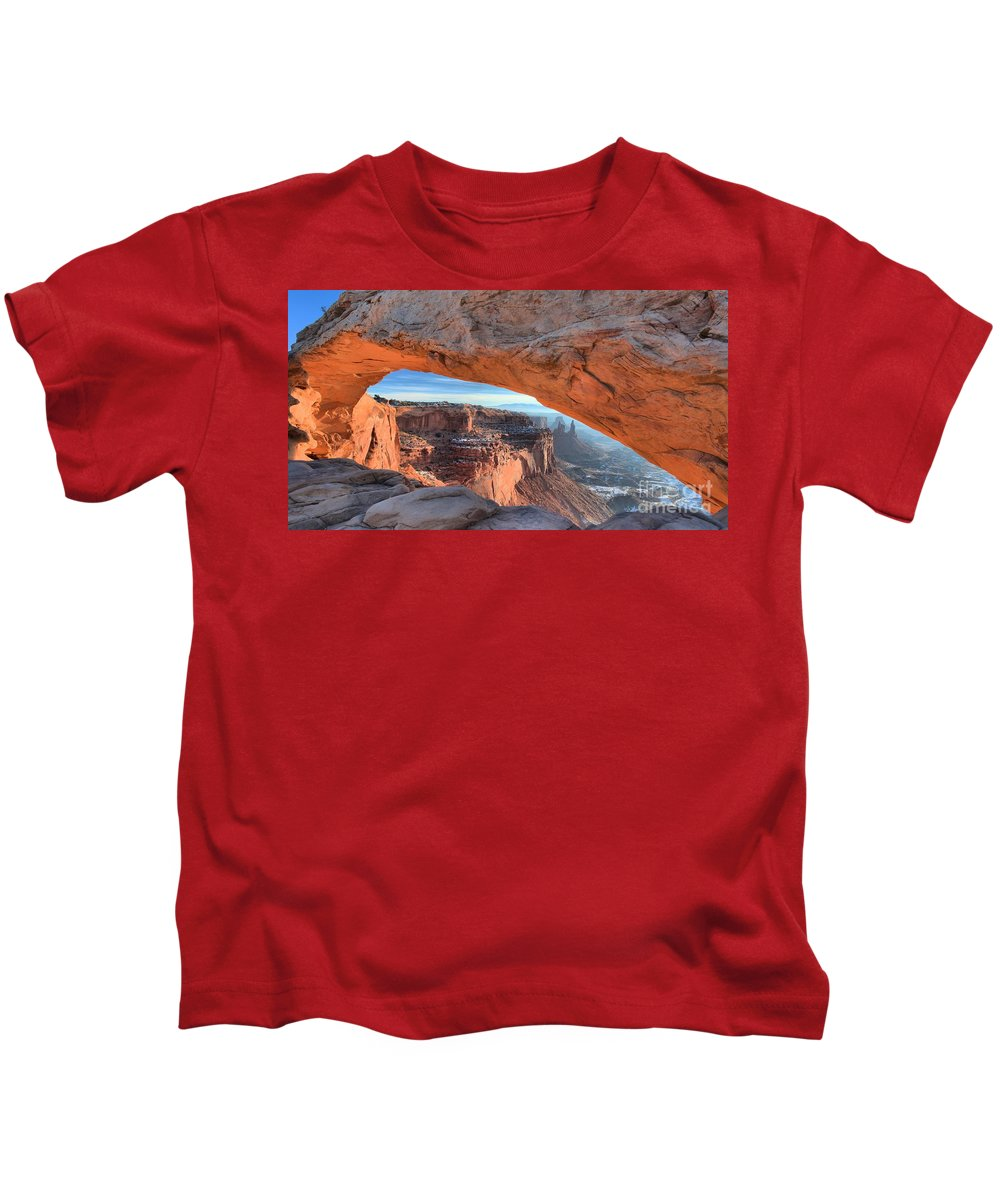 Mesa Arch Sunrise Kids T-Shirt featuring the photograph Sunrise On The Edge by Adam Jewell