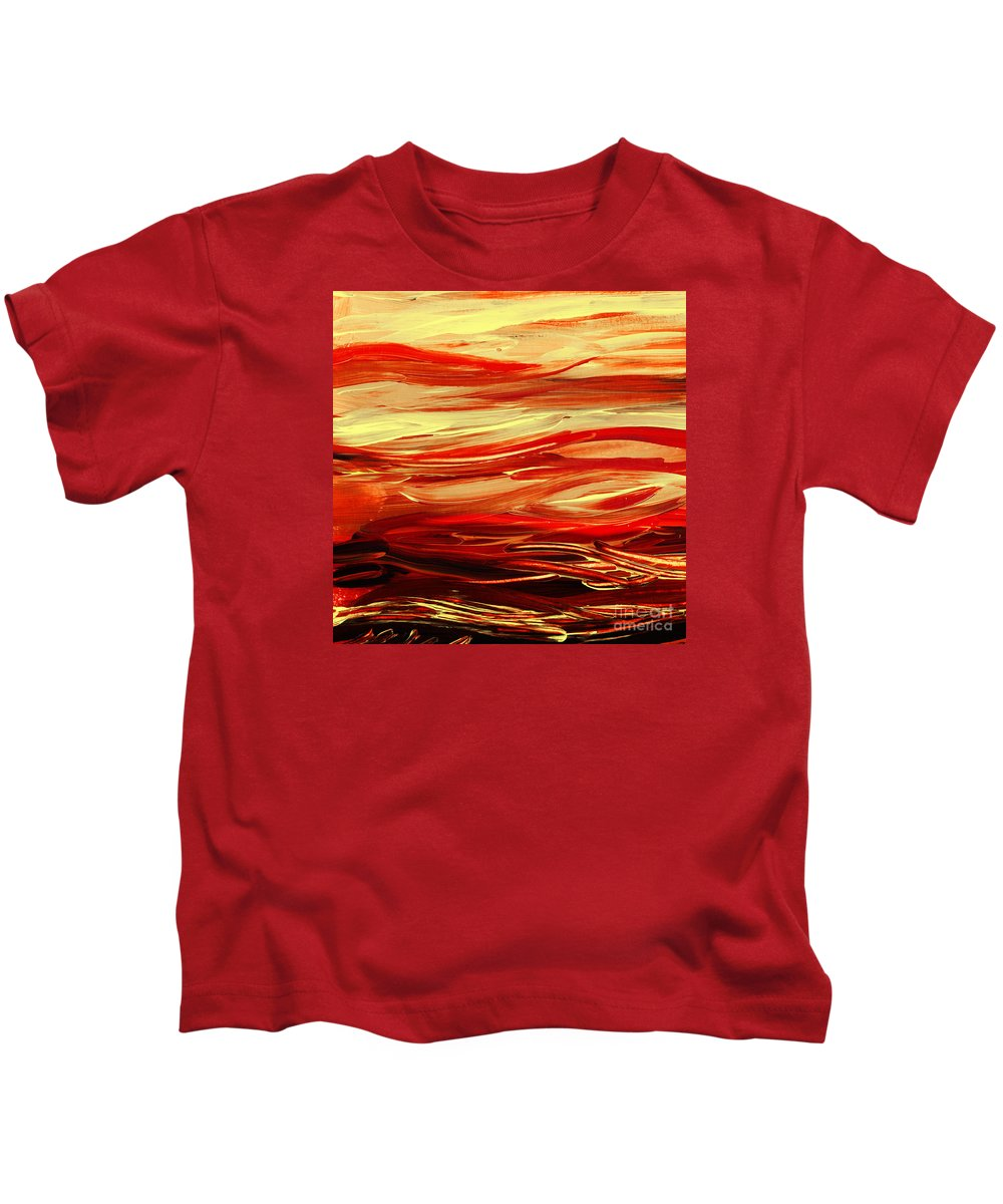 Red Kids T-Shirt featuring the painting Sunset At The Red River Abstract by Irina Sztukowski